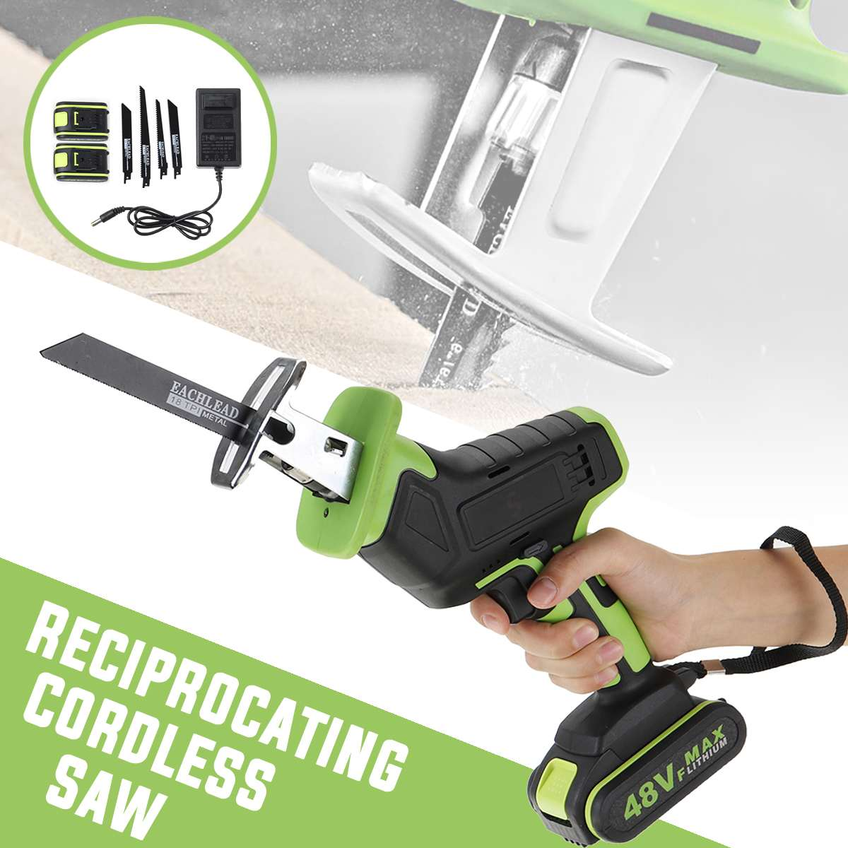 Doersupp 48V Cordless Reciprocating Saw +4 Saw Blades Metal Cutting Wood Tool Portable Woodworking Cutters With 1/2 Battery