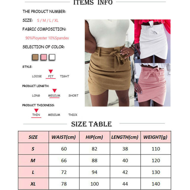 2019 Autumn Fashion Womens Mini Skirts Sexy Bandage Clubwear High Waist Pencil Bodycon Cross Skirt White Pink Khaki S-XL 6