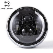 "Emark 7.5"" LED Motorcycle Headlight Hi&Lo HeadLamp Bulb DRL Angel Ring For CG125 GN125 for Harley Sportster Cafe Racer Bobber"