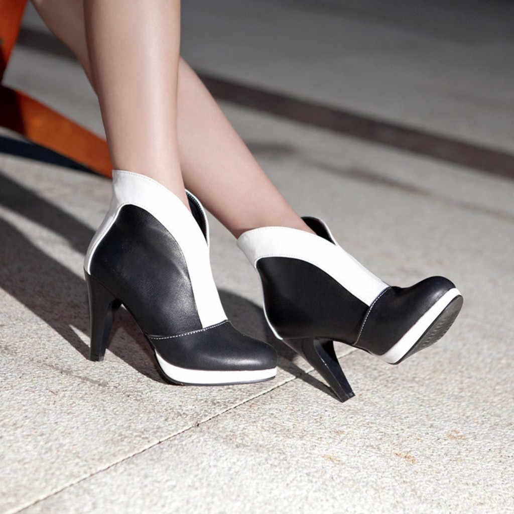 JAYCOSIN kadın bot ayakkabı kadın moda platformu sivri burun kısa yarım çizmeler yüksek topuk ayakkabı bayan botları boyutu 43 2019