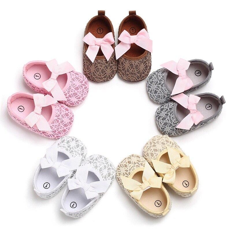 Lovely Newborn Baby First Walkers Toddler Girl Crib Shoes Pram Soft Sole Prewalker Non-Slip Princess Baby Shoes 0-18M
