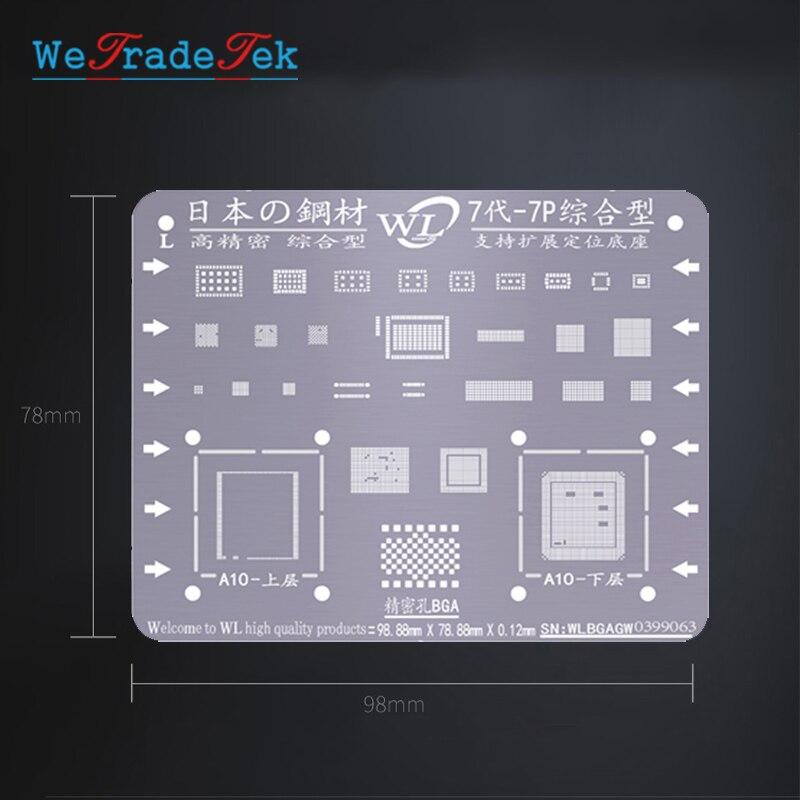 Kit de plantillas Universal BGA para Reballing, plantilla de soldadura de malla de estaño de 0,12mm de grosor para iPhone XSMAX XS XR X 8 8P 7P 7 6P 6 5 5S Jyrkior, soporte de fijación PCB para teléfono móvil, placa base, Plataforma de mantenimiento de soldadura para iPhone 5/5S/6/6P/7/7P/8/XR, reparación de soldadura