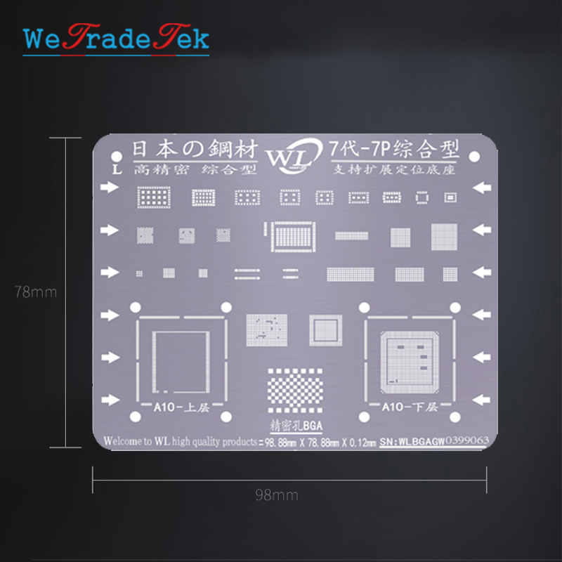 Universal BGA Reballing Stencil Kit 0.12mm Thickness Tin Mesh Solder Template For IPhone XSMAX XS XR X 8 8P 7P 7 6P 6 5 5S