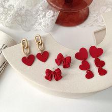 Luokey vermelho amor coração feminino brincos de luxo jóias casamento simples bowknot piercing brincos coreano moda brinco