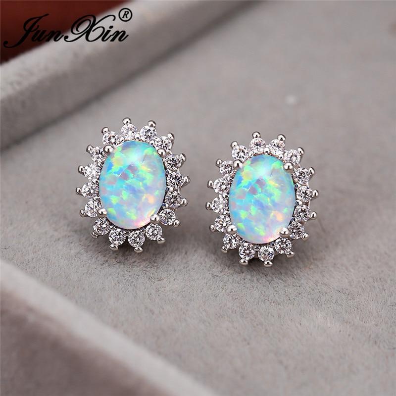 Rainbow Blue White Fire Opal Earrings Silver Color Cz Oval Stone Sunflower Wedding Stud Earrings For Women Luxury Jewelry