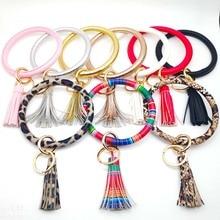 Bohemia PU Leather Wristlet Keychain bangle Fashion Leopard Snake Gold Silver Large Circle Keyring Tassel Bracelet for Women