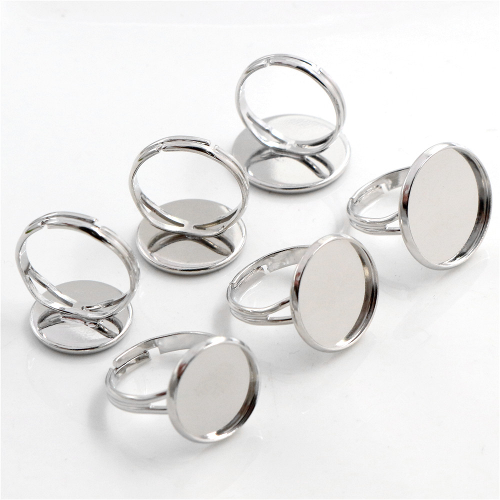 14mm-16mm-18mm 10pcs Rhodium Plated Brass Adjustable Ring Settings Blank,Fit 14mm 16mm 18mm Glass Cabochons;Ring Bezels
