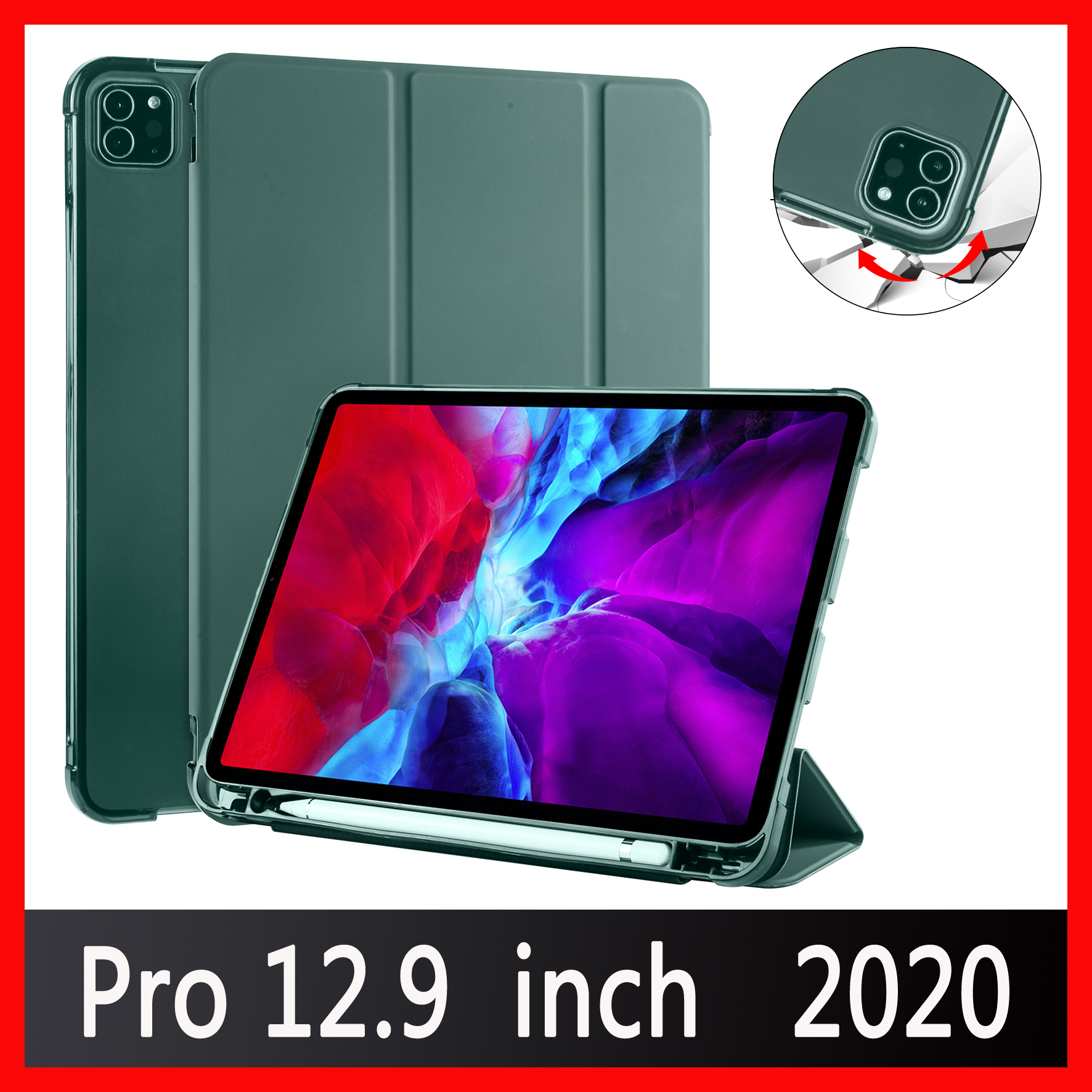 Case for iPad Pro 12 9 2020 A2229 A2069 A2032 A2233 Case Multi Fold PU Leather
