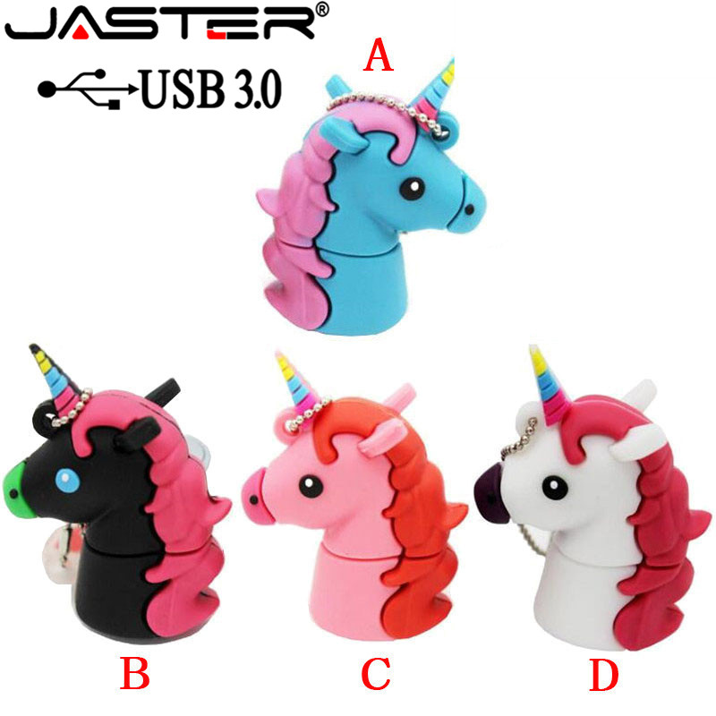 JASTER USB 3.0 New Cartoon White Unicorn Style Flash Drive Real Capacity Cute Horse 16GB 32GB 64GB Flash Memory Drive Usb Stick