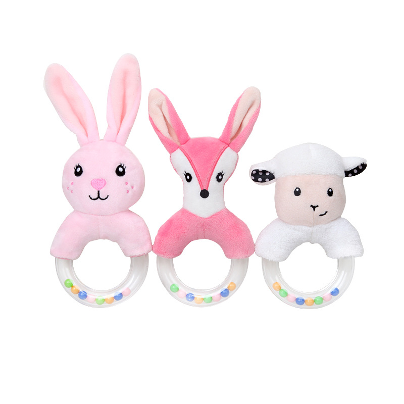 Cute Cartoon Animal Baby Rattles Plush Toys For Newborns Infant Baby Toys 0-12 Months Rabbit Hand Bell Baby Educational Crib Toy