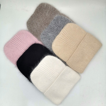 New Winter Hat for Women Rabbit Cashmere Knitted Beanies Thick Warm Vogue Ladies Wool Angora Female Beanie Hats