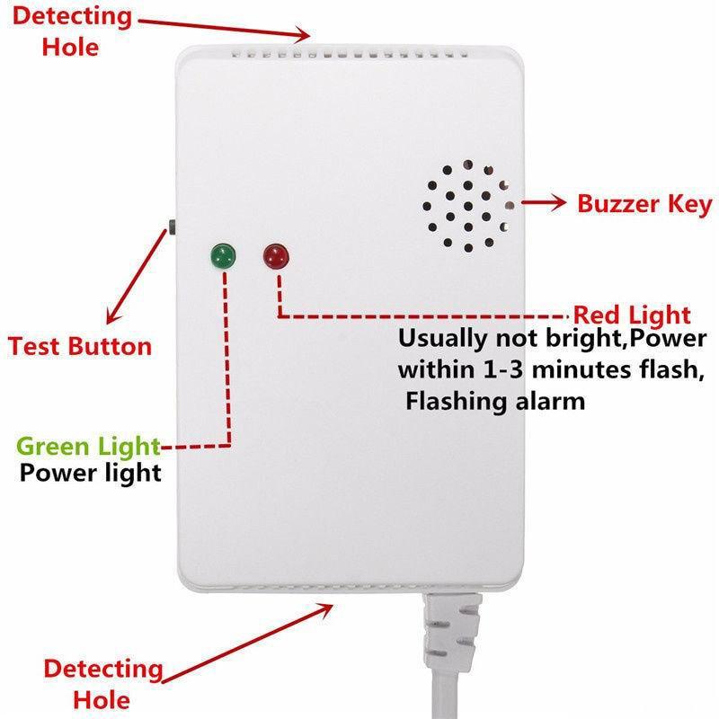 Gas Leaking Detector Househole Combustible Gas Sensor Alarm Detection Sniffer 220V GV99
