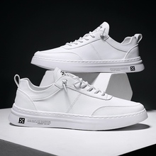 Classic Skate Shoes Leather Men Shoes Fashion Comfortable Non slip Sweat absorbent Flat Sneakers White Spring Man Trainers