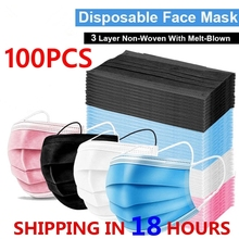Breathable Mask Disposable Pink Adult Elastic Mouth Black 3-Layer Non-Woven with Earband