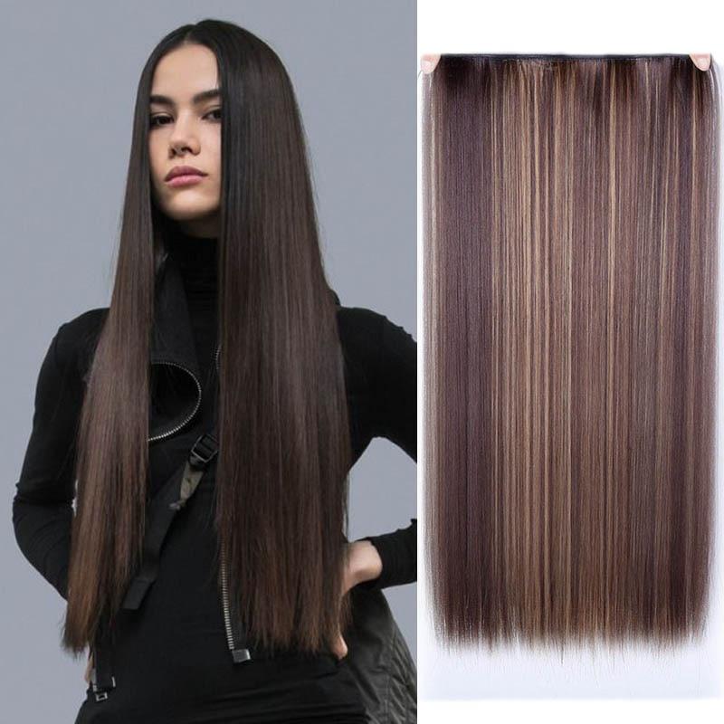 JINKAILI 24 дюйма длинные прямые женские удлинители волос на клипсе черные коричневые цвета высокотемпературные синтетические волосы