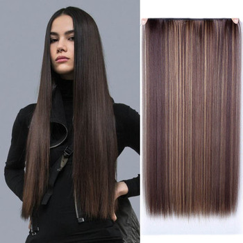 JINKAILI 24'' Long Straight Women Clip in Hair Extensions Black  Brown colors High Tempreture Synthetic Hair Piece jinkaili top piece closure toupee black brown top natural straight hair female hear resistant synthetic hair piece women
