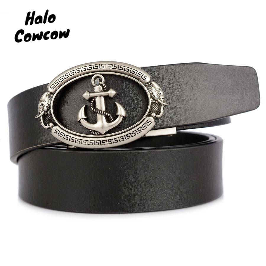 Gold Silver Anchor Designer Belts 3.5cm Wide Cowskin Real Genuine Leather Belt Automatic Buckle Belt Strap Cowboy Black Brown