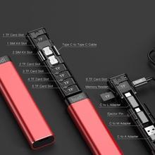 BUDI wielofunkcyjny inteligentny Adapter do przechowywania kart danych kabel USB Box Protable multi cable czytnik TF Storage Case dla iPhone Xiaomi