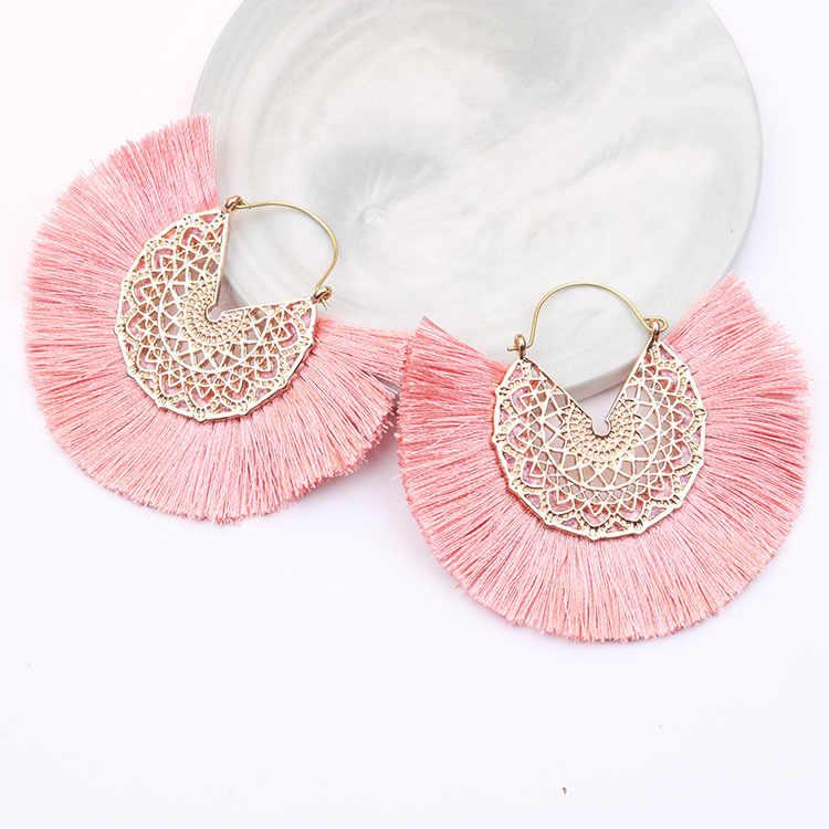 Czeski Fan Shaped Tassel kolczyki dla kobiet Lady kobieta Fringe Handmade dynda kolczyki Vintage wiszące kolczyki biżuteria