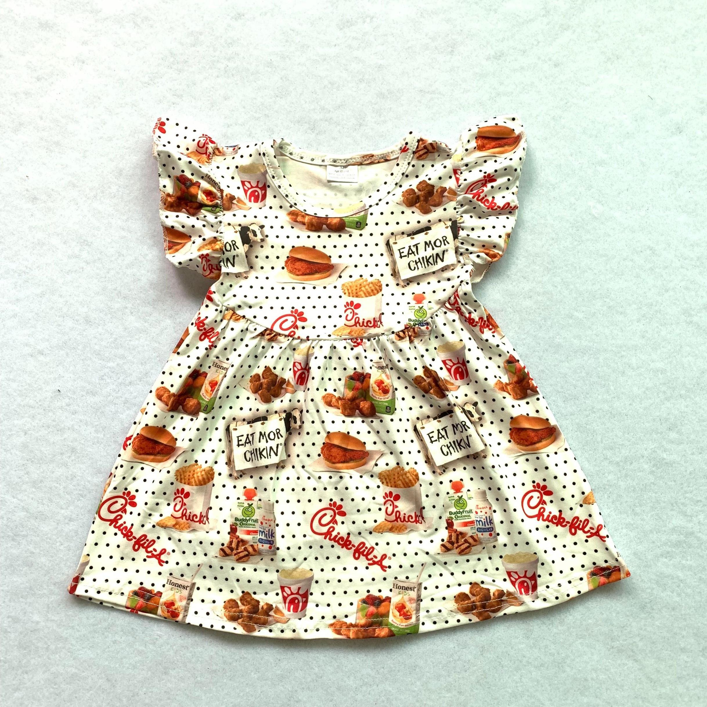 bulk wholesale kids pearl dress with flutter sleeve cartoon pattern boutique kids dressDresses   -