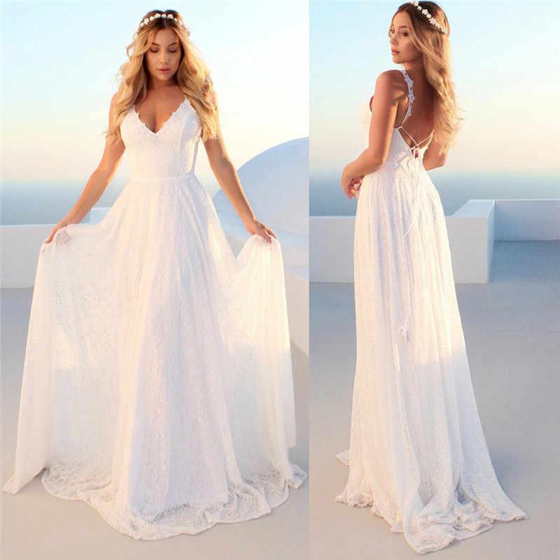 Sexy tiefem V-ausschnitt Backless Sommer Rosa Kleid Frauen Elegante Spitze Abend Maxi Kleid Urlaub Lange Party Kleid Damen 2019 o4