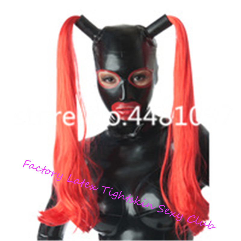 Latex Cosplay Mask With Two Red Wigs Open eyes mouth nose With Trims  Fetish Rubber Hook Customized XS-XXL