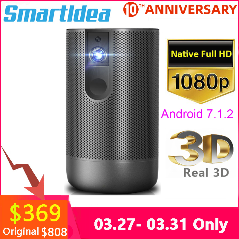 Smartldea D29 native1920x1080 Proiettore Full HD Android 7.0 (2G + 16G) 5G wifi Casa Proyector supporto 4K 3D ZOOM video gioco Beamer title=