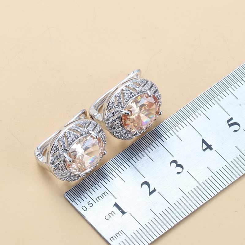925 стерлингового серебра 6 цветов большие комплекты украшений для женщин Овальный Шампань CZ клипса серьги ожерелье и кольцо наборы модные винтажные аксессуары