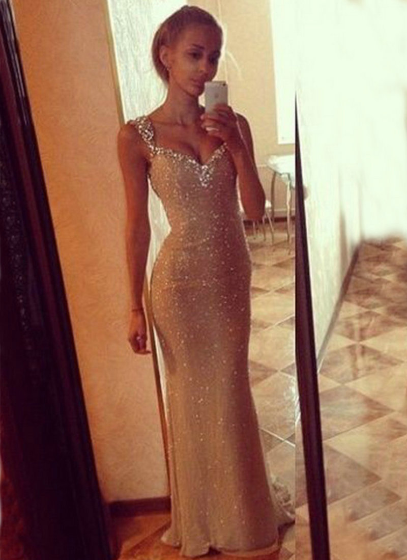 Vestidos De Fiesta Mermaid Cap Sleeve Sheath Evening Dress Sleeveless Long Prom Dress 2015 Crystal New Arrival