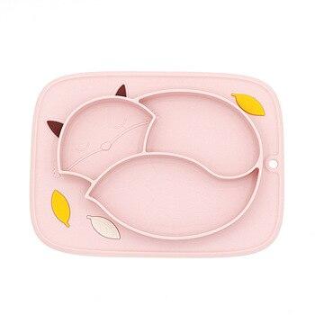 Płyta silikonowa dla dzieci miska dla dzieci Cartoon fox żel krzemionkowy płytki talerz dla dzieci Food Grade Silicone Baby