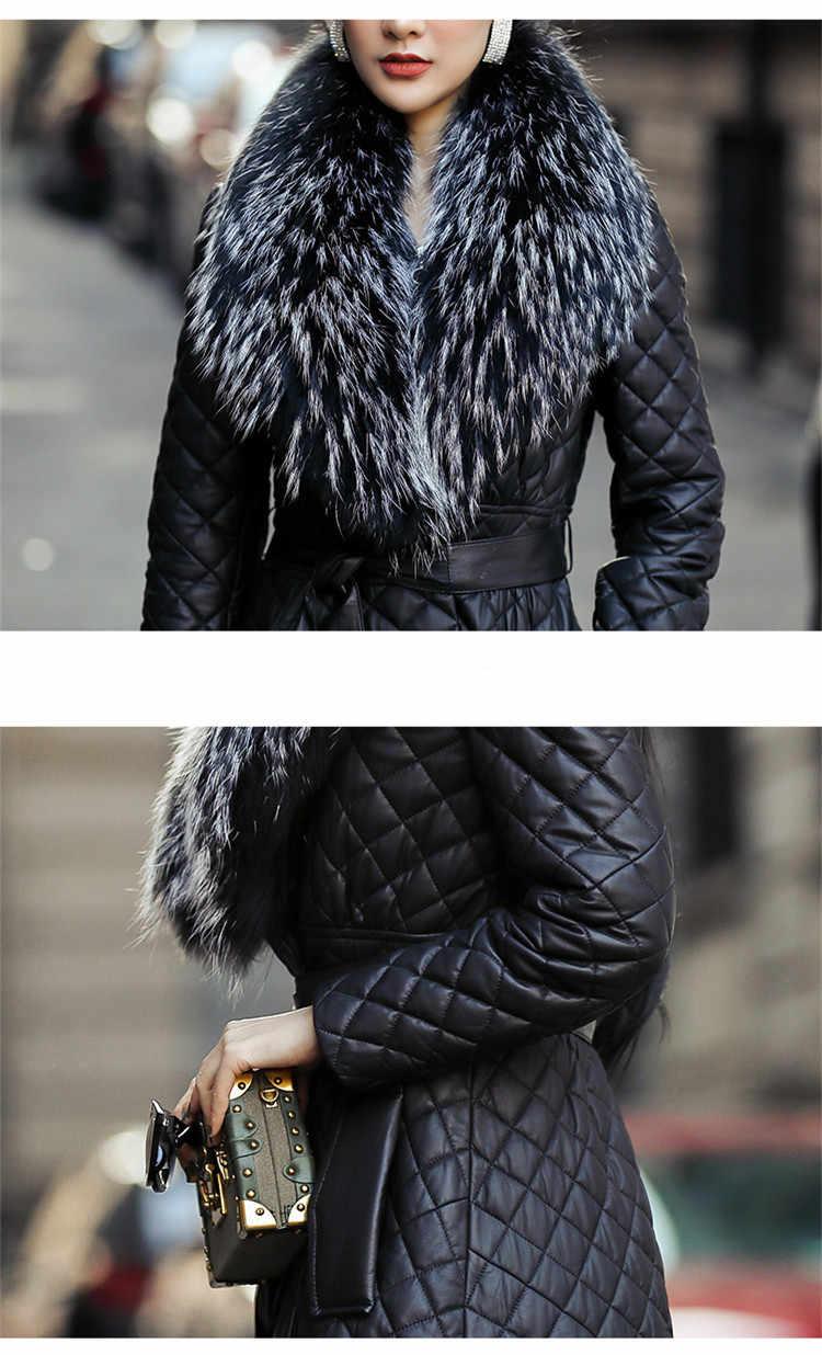 Skórzana kurtka z prawdziwej skóry 2020 kurtka zimowa kobiety 100% płaszcz z prawdziwej skóry owczej kobiet kołnierz z futra lisa długie kurtki puchowe MY3852 s