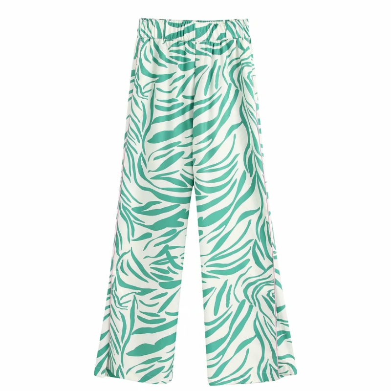 2020 Women New Fresh Printing Elastic Waist Straight Pants Femme Side Striped Chic Casual Long Trousers P606
