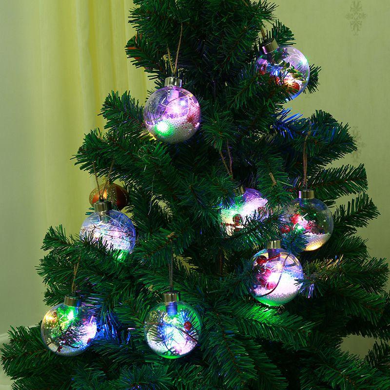 DIY Craft Plastic Xmas Ball Toys LED Christmas Ball Transparent Balls Ornaments Baubles Christmas Tree Funny Gift For Kids