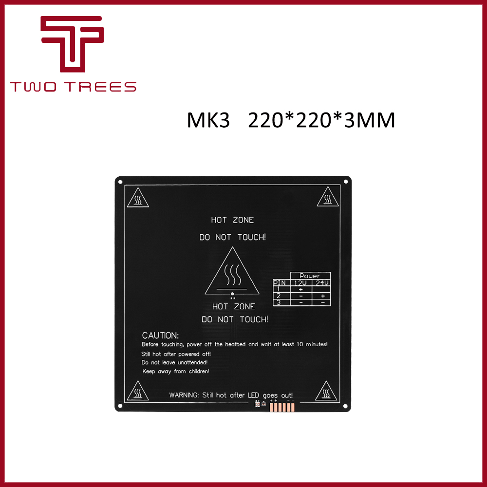 MK3 Mk2 <font><b>Heated</b></font> <font><b>Bed</b></font> 12V 24V Parts For Reprap Mendel HotBed 3D Printers Part <font><b>220</b></font>*220mm Aluminium Plate 3mm Heatbed PCB Accessories image