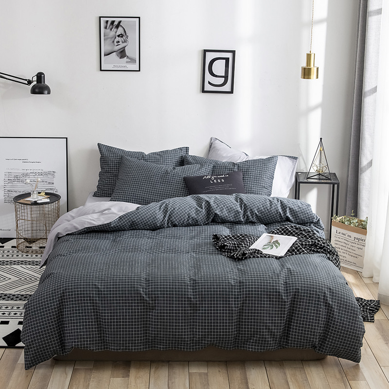 13070 Brief Japan Style 4 pcs Pure Cotton Bed Set Duvet Cover Flat Fitted Bed Sheet <font><b>Pillowcases</b></font> Plaid Black Leaves Dandelion image