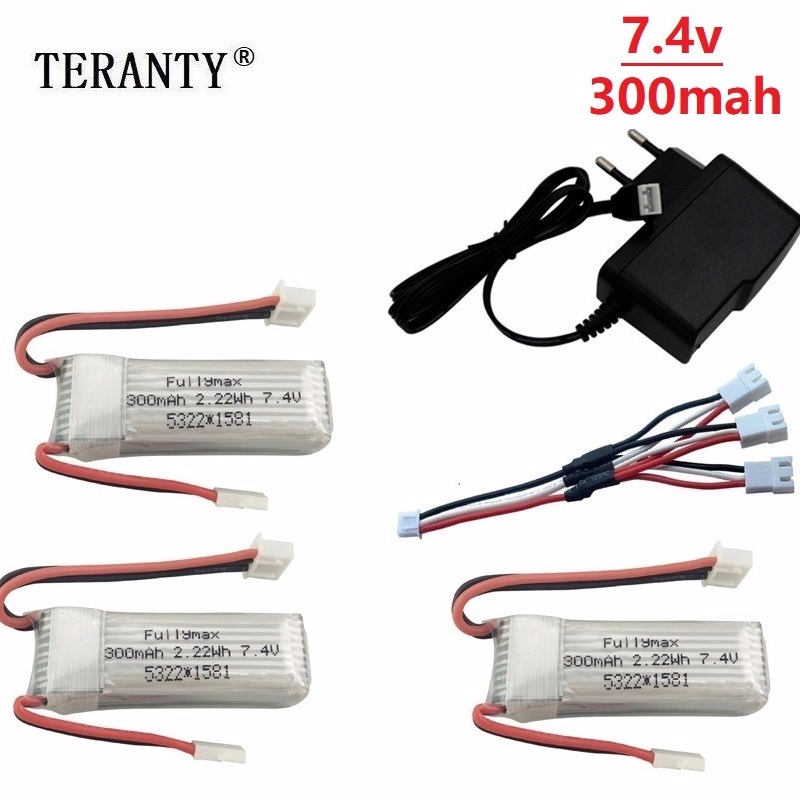 <font><b>7.4V</b></font> <font><b>300mAh</b></font> 25C Lipo <font><b>Battery</b></font> Charger set for XK DHC-2 A600 A700 A800 A430 2s Replacement <font><b>Battery</b></font> for WLToys F959 RC Airplane RTF image