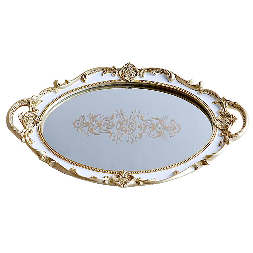 Oval Storage Tray Resin Mirror Surface Tray Accessories Tray Jewelry Holder Storage Tray For Home (White Printing Flower)(China)