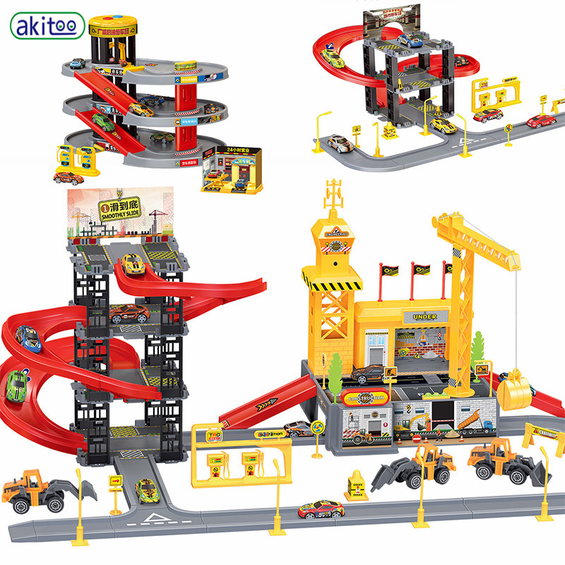 Akitoo New 3 Layers 4 Layers 5 Layers Track  Alloy Car Parking Lot Children Toys Educational Toys #1010