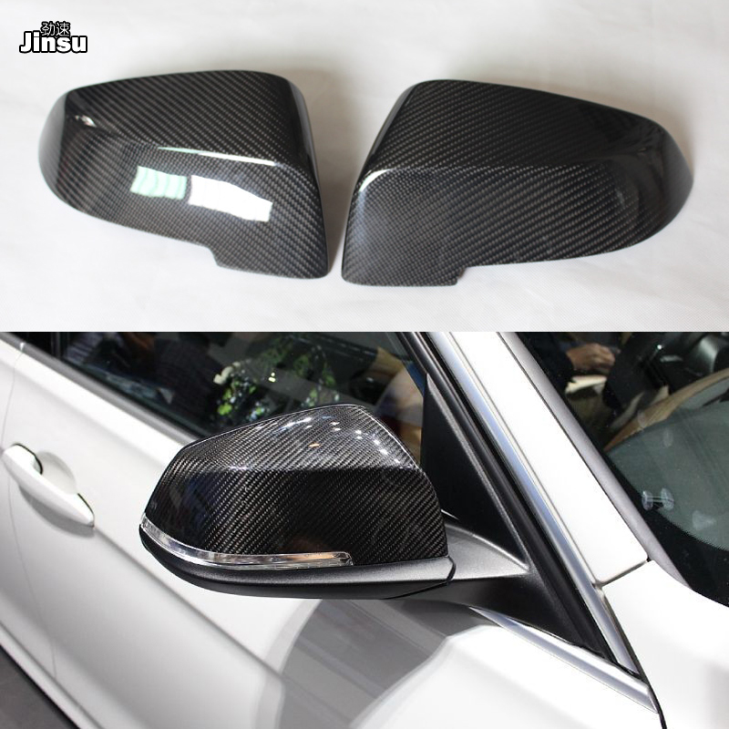 Authentic Carbon Fiber Side Wing Mirror Cover Caps for BMW 3 F30 M3 F34 2012-17