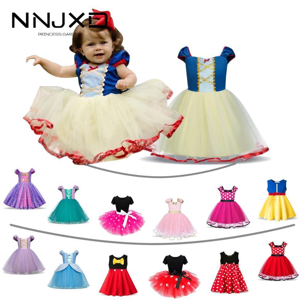 Модные Детские платья для девочек; Костюм Белоснежки на Хэллоуин; Платья принцессы; Одежда для детей; Платье с Минни Маус для маленьких девочек