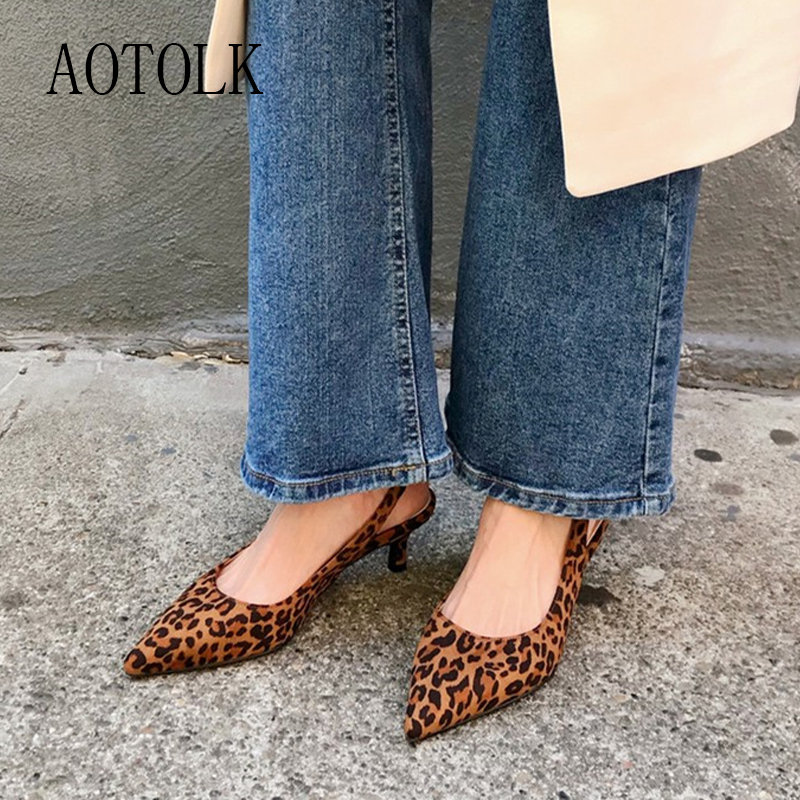 Leopard Sandals Women High Heels Casual Sexy Female Shoes Back Tick Thin Heels Leopard Point Toe Sandals Summer Shoe New Arrival