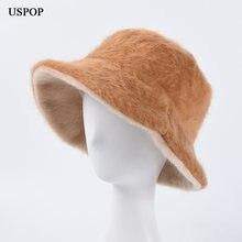Uspop зимние шапки новые женские шляпы ведерки одноцветные толстые
