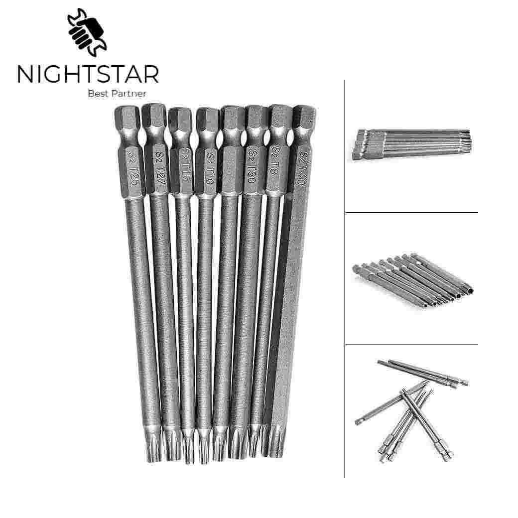 "8Pcs 100mm Magnetic Torx Screwdriver Bits 1/4"" Hex Shank New T8 T10 T15 T20 T25 T27 T30 T40 Electric Screwdriver head"