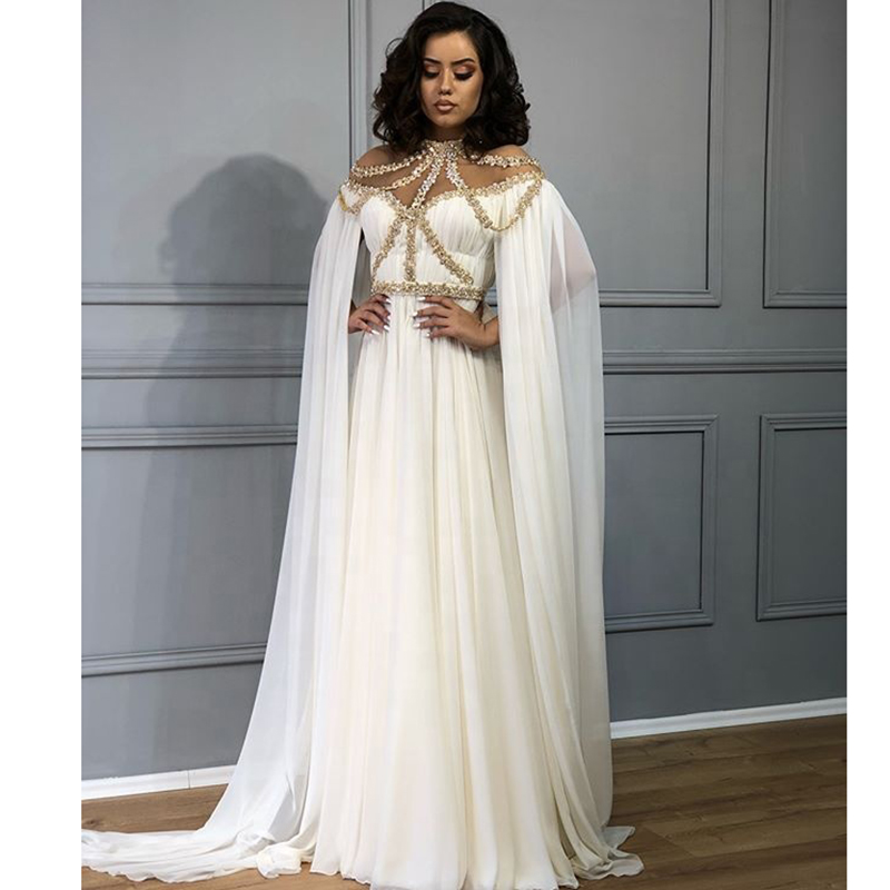 White And Gold Evening Dresses High Neck Beaded A-Line Arabic Dubai Long Cape Chiffon Middle East Women Prom Dresses Party 2020