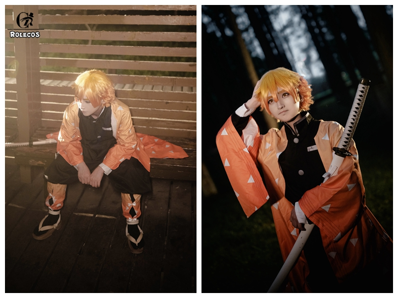 Image 3 - ROLECOS Anime Costume Kimetsu no Yaiba Cosplay Demon Slayer Agatsuma Zenitsu Cosplay Costume Men Kimono Halloween Costume-in Anime Costumes from Novelty & Special Use