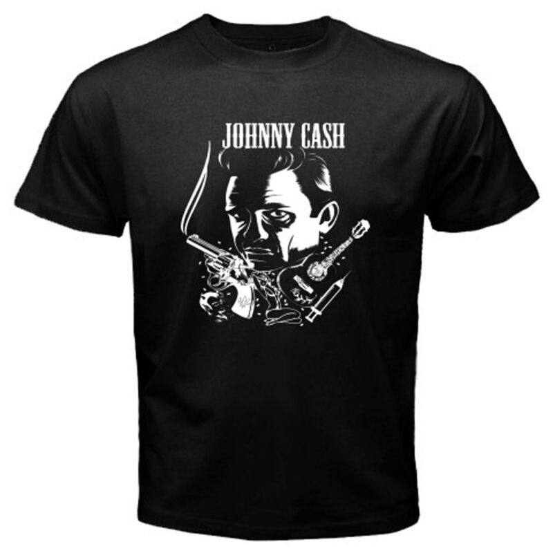 New JOHNNY CASH Rock n Roll Music Icon Legend Men 39 s Black T Shirt Size S to 3XL in T Shirts from Men 39 s Clothing