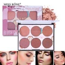 6 цветов, пудра для лица Miss Rose, румяна, палитра для макияжа, контурная палитра для макияжа, косметика для лица