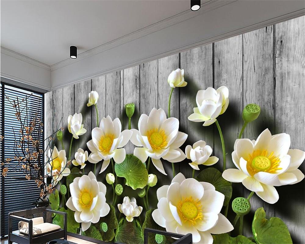 Beibehang-Custom-wallpaper-green-relief-lotus-wood-grain-3d-tv-sofa-background-walls-living-room-bedroom (1)