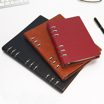A6/A5/B5 Spiral Notebook Leather Travel Diary Journal Weekly Business 6 Rings Binder Note Book Planner Organizer Stationery a5 a6 note books for school macarons hand book spiral notebook diary leather spiral cute creative note books diary for travel
