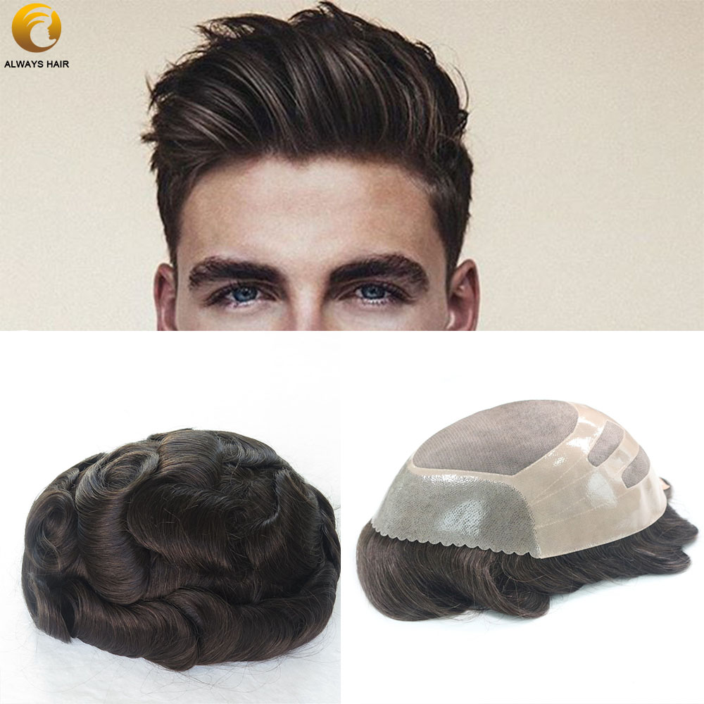 Durable And Natural Fine Mono Top Toupee Wig For Man Free Style Light Wave 30mm 6